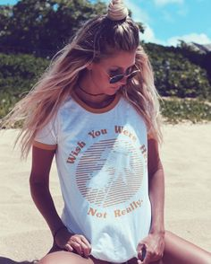 Wish You Were Here Ringer Tee // Junk Food Clothing @the_salty_blonde