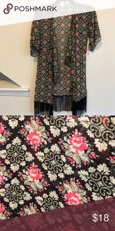 ba461bc2152 LuLaRoe Small Monroe Kimono Black Floral   Brand New   Size Small LuLaRoe  Sweaters Cardigans