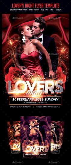 Lovers Night Flyer Template A unique party flyer, invitation design for your next party. The final package you download includes a fully layered, renamed, grouped PSD file. Print dimensions: 46   .25 bleed Features:Images are Smart Objects Easy editable text CMYK @ 300 DPI Print-ready 100 scalable Perfectly Aligned Open in All CS Version Organise