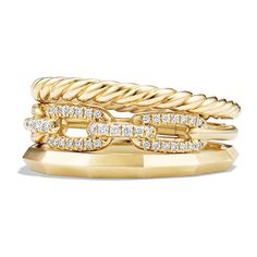 David Yurman Stax Narrow Ring with Diamonds in 18K Gold ($2,450) ❤ liked on Polyvore featuring jewelry, rings, gold jewellery, 18k yellow gold ring, gold diamond rings, 18 karat gold ring and yellow gold band ring