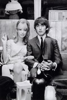 1964 - George Harrison and his ex-wife Pattie Boyd in A Hard Day's Night film (backstage photo).