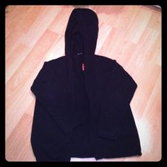 Victorias Secret Navy Hooded Sweater Moda International for Victorias Secret navy blue hooded sweater cardigan with one wooden toggle closure. Size MEDIUM but is very roomy and could fit LARGE easily. Like new condition  Victoria's Secret Sweaters Cardigans