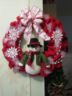 ...at the cottage - red burlap snowman wreath created by DonElla Nielsen