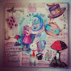 Alice in Wonderland mixed media picture canvas on Etsy Sketchbook Layout, Gcse Art Sketchbook, Alice Book, Alice In Wonderland Theme, My Art Studio, A Level Art, Canvas Pictures, Altered Art, Art Projects
