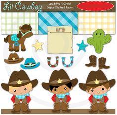 Instant Download Lil Cowboy Digital Clip Art and Papers for Web Design, Card Making, Scrapbooking, Kawaii - Personal and Commerical Use. $5.00, via Etsy.