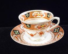 Royal Albert Crown China Tea Cup and Saucer, Unnamed, Mint Conditionreireignreirr