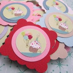 Cake and Balloon Party Favor or Gift Tags for Birthday, Baby Shower | adorebynat - Paper/Books on ArtFire