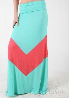 Mint Chevron V Maxi Skirt