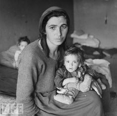 Italian Refugee Camp, Cesano, 1944, Father was taken by the Germans, by Carl Mydans