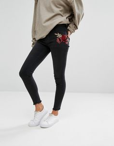 New Look Embroidered Patch Skinny Jeans
