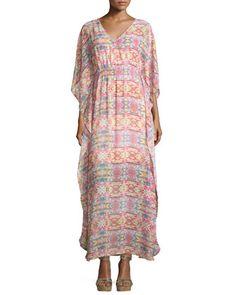 Geometric-Print V-Neck Maxi Dress, Multicolor by Neiman Marcus at Neiman Marcus Last Call.