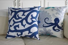 Beach Decor Coral Reef  Navy and White 18x18 by ByTheSeashoreDecor, $48.00