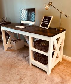 Diy Furniture Plans Wood Projects - New ideas Diy Office Desk, Diy Desk, Home Office Desks, Diy Computer Desk, Office Decor, Small Office, Diy Wood Desk, Computer Desk Living Room, Diy Storage Desk