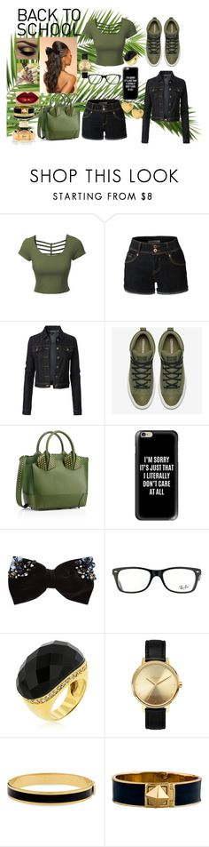 """Let's Go Back!!!!"" by bukkyonibokun ❤ liked on Polyvore featuring LE3NO, Christian Louboutin, Casetify, New Look, Ray-Ban, Nixon, Halcyon Days, Kate Spade, Sydney Evan and contestentry"