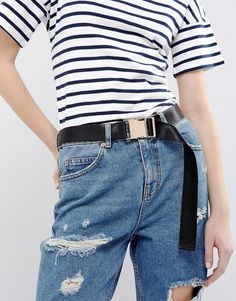 ASOS Seat Belt Buckle Belt - Black