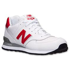 Men's New Balance 574 Leather Casual Shoes | Finish Line | White/Red
