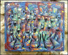 Haitian Market Scene  Original Primative Art by TropicAccents, $49.95   Haitian Art  #Haiti