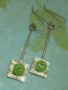 Sterling Silver Peridot Riveted Square Earrings by AmorphicMetals, $45.00