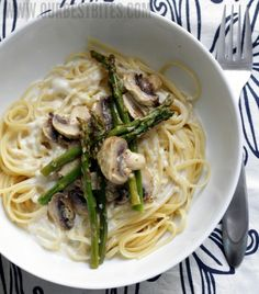 Roasted Asparagus and mushroom pasta in lemon-cream sauce. Try it! It is low cal!!!