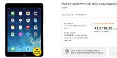 iPad Air Apple Wi-Fi 4G 16Gb Cinza Espacial Md791br/A << R$ 219912 >>