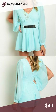 Baby Blue Flounce Slit Sleeve Romper GORGEOUS!   FEATURES:  -?V Neckline - Long slit sheer blouson sleeves - Flounce shorts -?Gold belted waist -?Exposed V back - 100% Polyester (Chiffon)? Pants Jumpsuits & Rompers