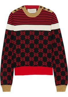 109c7cd03 Don't miss this great bargain on gucci - metallic-trimmed intarsia cotton  sweater - burgundy from Gucci!