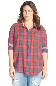 Lucky Brand 'Happy' Plaid Shirt (Plus Size) available at #Nordstrom