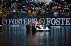 Race winner Ayrton Senna (BRA) McLaren MP4/6 leads in the appalling conditions that stopped the race after 14 of the 81 scheduled laps making it the shortest race in Formula One History. Australian Grand Prix, Adelaide, 3 November 1991. World © Sutton