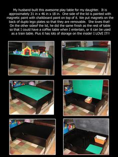 DIY LEGO TABLE   Callie's new lego/chalkboard/magnetic play table.....and the lid flips to make a coffee table for me with lots of storage!