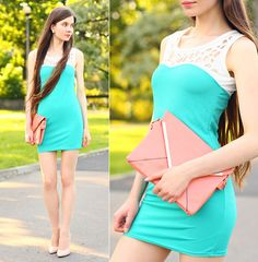 Vessos Mint Short Dress, Sammydress Pink Clutch Bag, Persunmall Nude Pumps