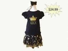 Princess Tiara T-Shirt and Black Tutu with Headband