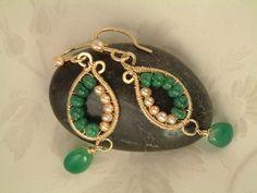Emerald & pearl earrings