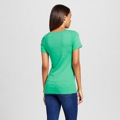 Women's Fitted Scoop T-Shirt Tumble Green XS - Merona