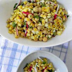 Grilled Corn, Bean and Radish Salad #SundaySupper