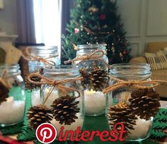 """Mason jars have made a huge comeback lately. I think there is a homemade, back-to-basics feel about mason jars that is making them popular again. Mason jars take me back … Continue reading """"DIY Christmas Mason Jar Candles"""" Christmas Candle Decorations, Christmas Mason Jars, Christmas Candles, Diy Christmas Gifts, Simple Christmas, Beautiful Christmas, Mason Jar Candles, Mason Jar Diy, Deco Table Noel"""