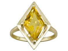 1.75ct Fancy Cut Brazilian Citrine 10k Yellow Gold Ring
