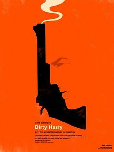Dirty Harry. Facial profile created from handgun's negative space.
