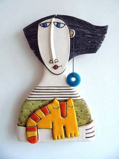 Original Ceramic Art Tile-Girl with cat Size: 15/23,5 sm =6 /9,4 inches   *All packages are sent via Bulgarian Posts with priority and with tracking number. Please note, I cannot take responsibility for the postal service. At busy times, items may take longer, so please allow extra time if possible - delivery times cannot be guaranteed. Items are not considered lost in the post until a month has passed.  ***Due to the unique nature of my art, there are no refunds or exchanges, unless the…