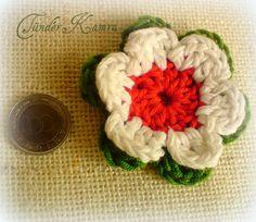 Kokárda virág, horgolt kitűző, Dekoráció, Ékszer, óra, Dísz, Ünnepi dekoráció, Meska