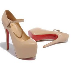 Christian Louboutin Kidskin Leather Nude Pump High Platform Red Sole With Strap