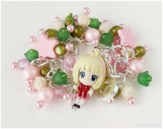 Blue Exorcist Bracelet, Shiemi Chibi Figure, Pink and Green Charms, Silver Plated Chain - Anime Jewelry, Kawaii