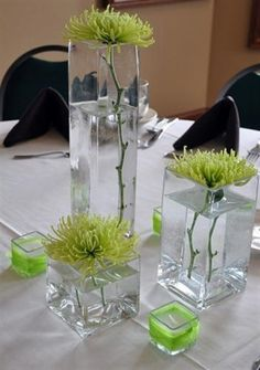 Wedding Reception Flowers - Rochester MN - Le Jardin Floral.  Green spider mums