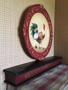 Prim Painted Wood Box Shelf Country Red Black Hanging by jarmfarm