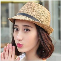 Handsome UV protection fedora hat for women straw sun hats spring wear