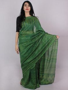 Tussar Handloom Silk Hand Block Printed Saree in Basil & Fern Green - S031701206