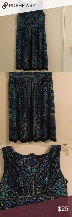 """Perceptions Cute Black/Blue/Green Dress. Size 6P Perceptions Cute Dress. V neck on top & faux slit in front. Contains Black/ Royal Blue/ Turquoise/ Green / White, etc in pattern. Size 6 Petite. 95% Polyester, 5% Spandex. Length from Shoulder to bottom. Approx. 35"""". Jersey feel. Worn once or twice above shirt & leggings. Perceptions Dresses Midi"""