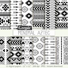 Aztec digital paper: MINIMAL AZTEC aztec patterns tribal by Grepic