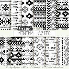 Aztec digital paper: MINIMAL AZTEC aztec patterns tribal by Grepic