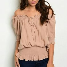 Ruched Taupe Top, Tops for Women, Fall Fashion for Ladies, Online Clothing Boutique