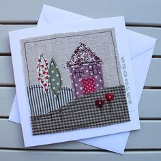 New Home Card - Handmade Original Textile - Machine Embroidered - Pretty Pink House - Personalised Insert - Welcome to your cosy new home